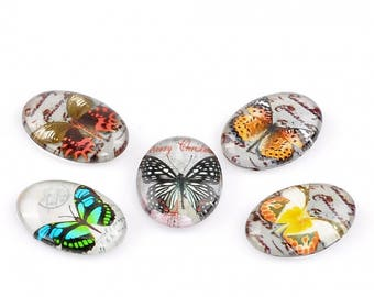 Butterfly yellow 18x13mm glass cabochon