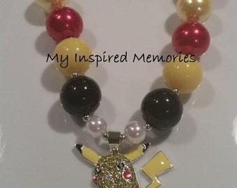 50% off sale-Pikachu bubblegum necklace, pikachu necklace