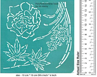 Stencil, Stencil for Painting, Flowers Stencil, Wall Stencil, Craft Stencil, Pattern Template, Reusable, Adhesive, Polymer, Wood, Glass