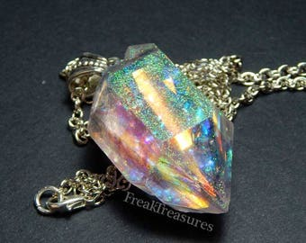 Spellbound quartz crystal resin necklace, holographic iridescent witchy moonchild, holo
