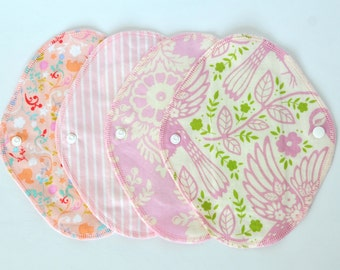 Set of 4 Cloth Panty Liners  7.5inch  Pastel pink Cotton flannel and hemp absorbent pad
