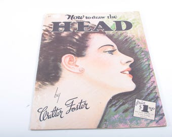 How to Draw the Head, Walter Foster, Vintage, Drawing, Educational, Art, Learning, Book, Instructions, Portraits ~ The Pink Room ~ 170207