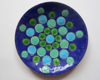 Cup in enamels on copper - blue and green bubbles