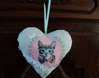 beautiful door pillow heart, cat with glasses, handmade