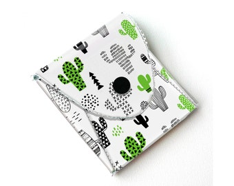 NEW Handmade Vinyl Coin Purse - Cactus / wallet, vegan, change, snap, small, little, pocket wallet, gift, green, cacti, succulents