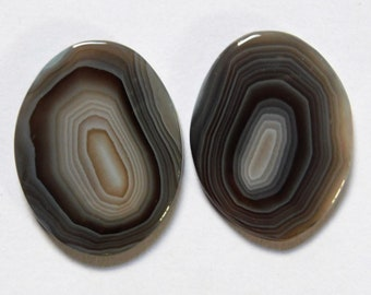 37.35 Cts Natural Botswana Agate (28mm X 22mm each) Loose Cabochon Match Pair