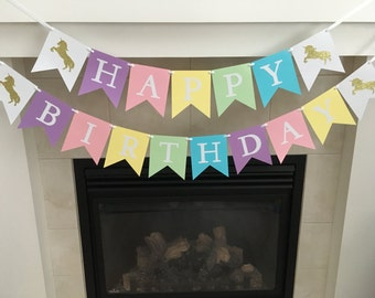 Unicorn Birthday Banner, Happy Birthday Banner, Girl Birthday Decoration, Party Decor, Photo Prop, Lavender, Pink, Light Yellow, Green, Blue