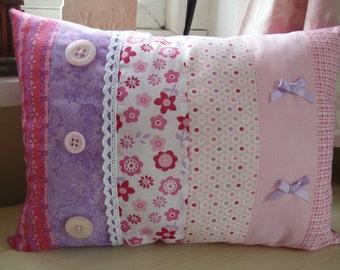 Stripy pink and purple girls cushion