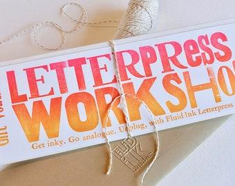 Bon atelier de typographie. Pour participer à un atelier à Perth WA. Bon physique d'être rachetée par le destinataire à travers notre site Web billetterie