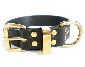 "1-1/4"" Black Chahin Latigo Leather Dog Collar with Solid Brass Hardware and Brass Keeper"