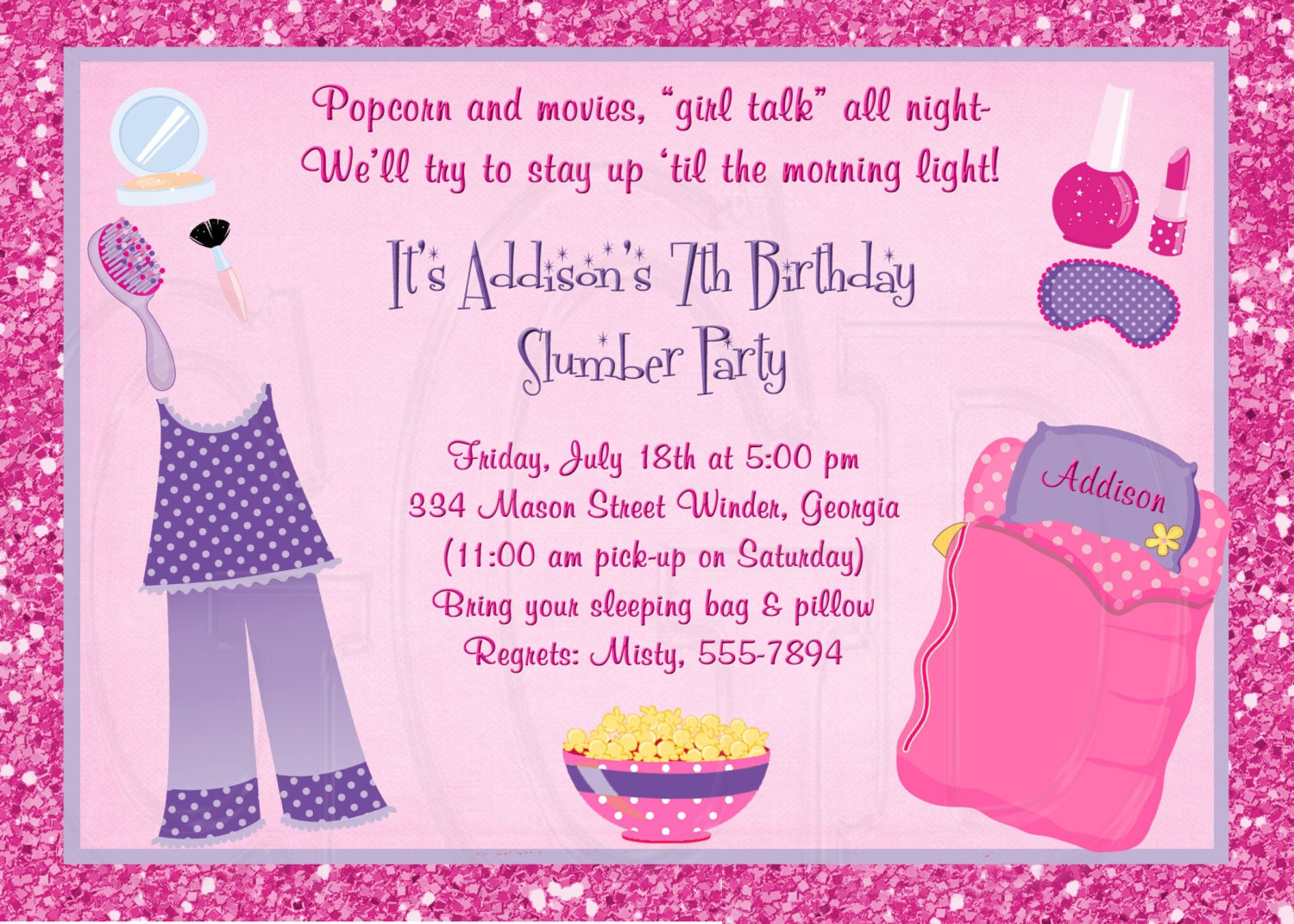 Slumber Party Invitation Pajama Party sleepover invite pj