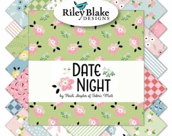 Date Night 5-Inch Squares Charm Pack, 42 Pieces, Heidi Staples, Riley Blake, Precut Fabric, Quilt Fabric, Cotton Fabric, Floral Fabric
