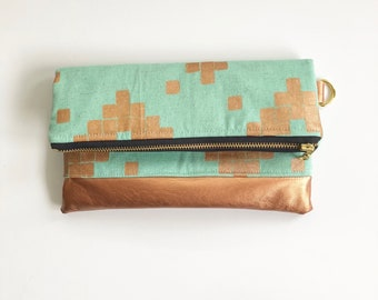 Ready to ship! Turquoise and copper foldover clutch