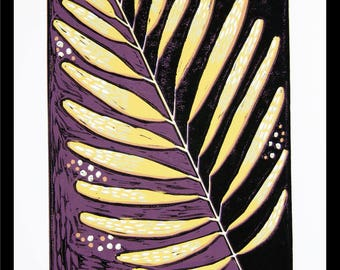 linocut, leaf, black, ultra violet, leaves, ochre yellow, home interior, modern art, linocut print, printmaking, colorful, art