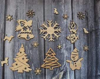 A set 6 Wooden ornaments Christmas tree toys Christmas tree decoration Christmas tree ornaments New Year Decor Wood Christmas tree ornaments