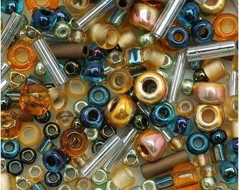 TOHO seed beads mix - Raiden (gold/green/blue)