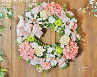 Door Wreath, Floral Wreath, Spring Wreath, Pastel, Pink Wreath, Unique Wreath, Large Wreath, apple Wreath, Magnolia Wreath, Hydrangeas