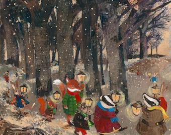 Winter Woodland Parade greetings card