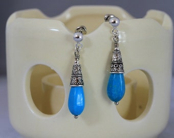 Antiqued Silver and Turquoise Dangling Post Earrings, Turquoise Earrings, Dangling Earrings, Sporty Earrings, Mother's Day, Blue Earrings