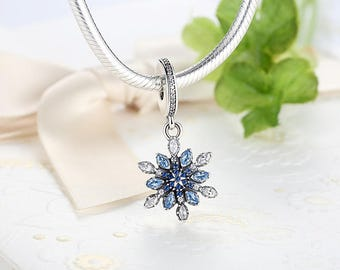 Snowflake pendant with blue and clear zircons beads charms 100% 925 Sterling Silver fit for Authentic pandora and european bracelets