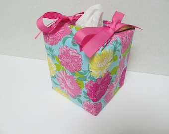 Tissue Box Cover/Dahlia x Pink Ribbon