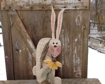 Primitive decor, Country Primitive, Wood Bunny, Primitive bunnies, bunny, rabbit, Easter Decor, spring decor, primitive wood rabbit