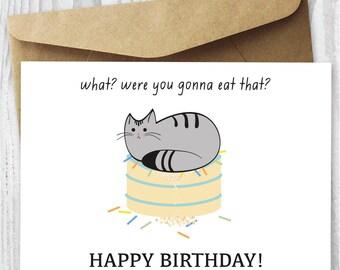 Cat birthday card cat card funny birthday card birthday cat printable cat birthday card happy birthday cat digital card funny quirky printable birthday card bookmarktalkfo Gallery