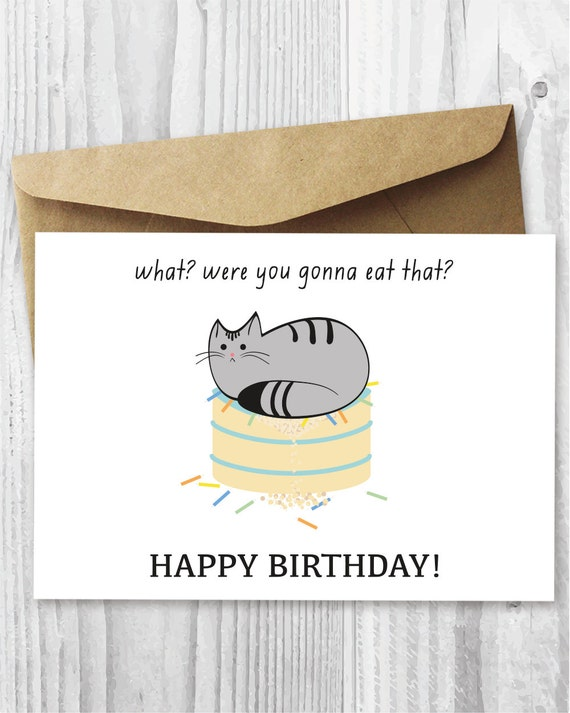 Printable cat birthday card happy birthday cat digital card printable cat birthday card happy birthday cat digital card funny quirky printable birthday card cat on cake instant digital downloads bookmarktalkfo Images