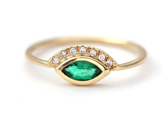 Emerald Engagement Ring, Gold Emerald Ring, Emerald & Diamond Ring, Green Engagement Ring, Marquise Emerald Ring, Zambian Emerald Ring