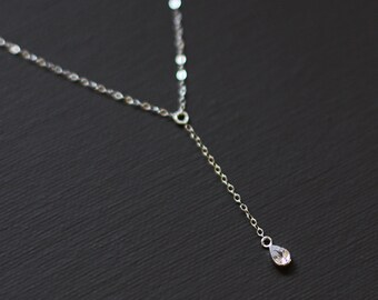 Delicate Rosary Y Necklace with Tiny Cubic Zircon Drop Charm - Sterling Silver