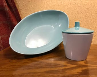 "Vintage Turquoise Melamine ""Retro"" Oval Bowl and Texas-Ware Turquoise and White Sugar Bowl - Mid Century"