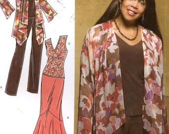 Khaliah Ali collection patterns Simplicity 3894 tops skirt pants jacket or Simplicity 2543 coat sewing pattern both Sz 10 to 18 Uncut