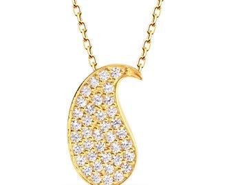 925 Carat Silver Necklace, Water Drop