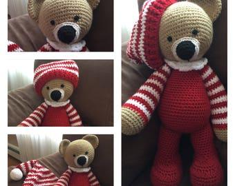 Crochet Amigurumi Toy Sleepytime Bedtime Red Pajama Teddy Bear Stuffed Animal Plushie Softie