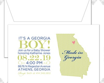 State Baby Shower Invites (available in all states), State Invite, Georgia Baby shower Invitation, Custom State Shower Invite, Georgia Baby