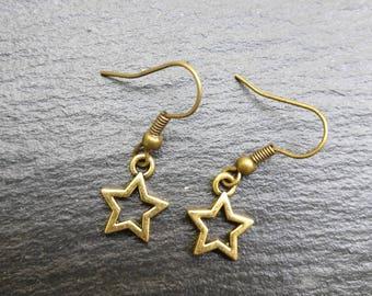 Star dangle earrings (bronze or silver coloured finish)
