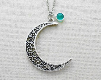 Moon Necklace, Crescent Moon Jewelry, Love You To The Moon, BFF, Friend, Birthday Gift, Silver Jewelry, Swarovski Channel Crystal Birthstone