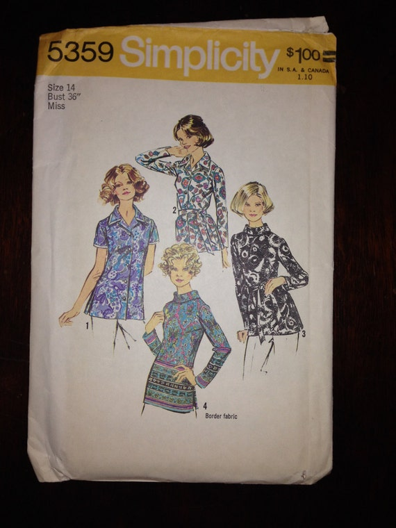 Simplicity 5359 Sewing Pattern 70s Uncut Misses and Womens Set of Blouses Size 14