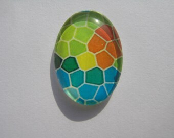 Cabochons 25 x 18 mm with a multicoloured mosaic pattern