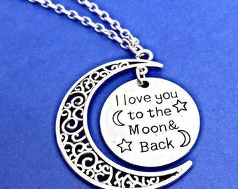 I love you to the moon and back necklace,Moon Pendant Necklace,Love Moon Jewelry,Silver Engraved Moon Necklace,Silver I Love You Necklace