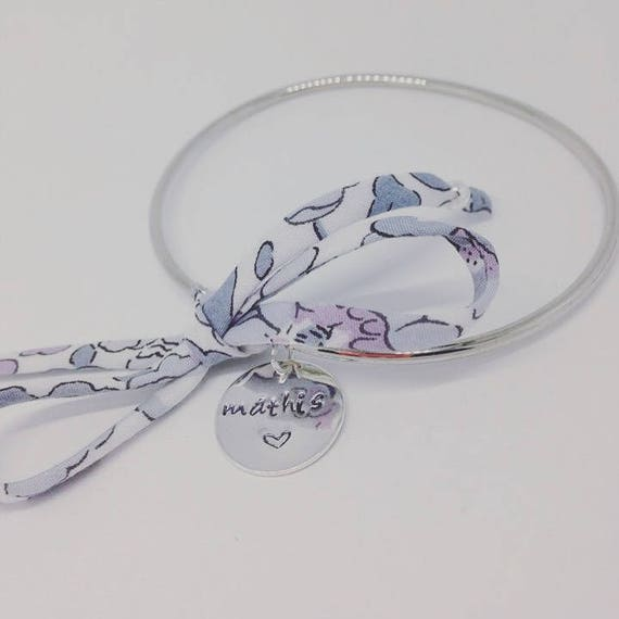 Half My Liberty silver Bangle with personalized engraving by Palilo personalized bracelet