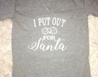 I Put Out Cookies For Santa Woman Vneck Top