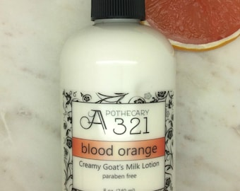 Blood Orange Scented Natural Goat Milk Lotion Moisturizer with Skin Softening Alpha Hydroxy Acid Paraben Free