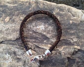 Dark Brown Hair Braided Horsehair Bracelet -  6MM Round Braid