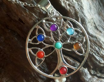 Tree of life, chakra, pendant necklace, wicca, pagan, birthday gift, mother's day gift, paganism,