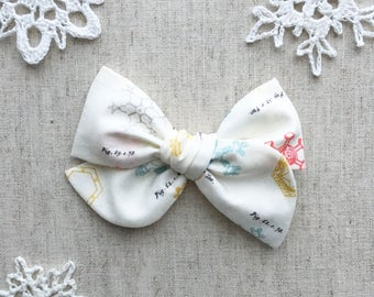 Pinwheel Bow - Pastel Naturalist Snowflakes - hair clip or baby nylon headband