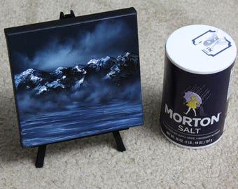 "6x6"" Mini Painting, Original Oil Painting - Montains Landscape Wall Art"