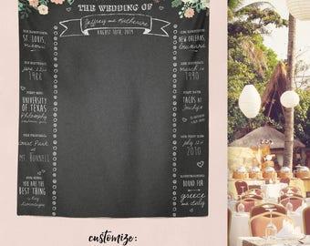 Custom Wedding Chalkboard, Wedding Banner, Personalized Wedding Banner, Rustic Bridal Shower Decor, Bridal Shower Banner/ W-G26-TP REG1 QQ9