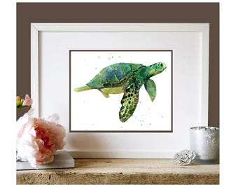 SEA TURTLE Watercolor Print, kids wall art, ready to frame
