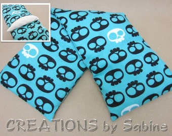 Microwaveable Corn Wrap, Washable Cover, Corn Pillow Hot Cold Pack Shoulder Back Sugar Skulls Skull Turquoise Cool / READY TO SHIP (488)